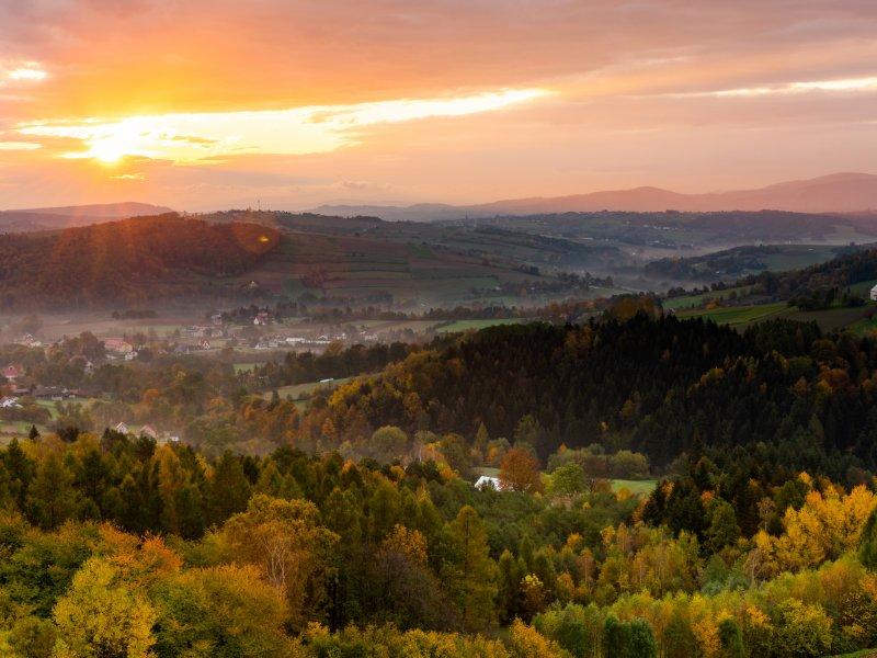 Widok z wieży widokowej w Bruśniku