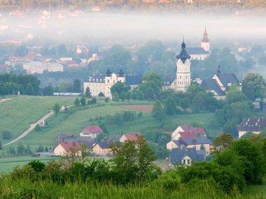 Widok ze szlaku na Bazylikę NMP, kościół parafialny w Tuchowie i Pogórze Ciężkowickie