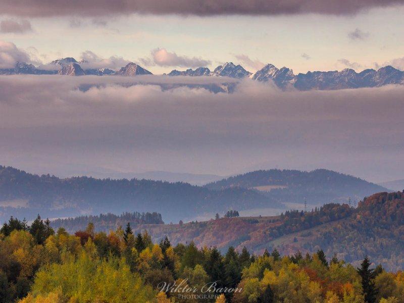 Tatrzańskie szczyty widziane z Koziarza, fot.  Wiktor Baron Fotografia